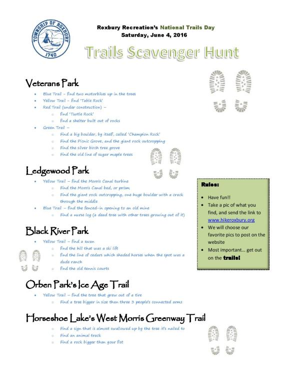 2016 6 Trails Day Scavenger Hunt